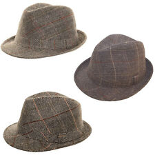 Grey Check Tweed Trilby Ladies Mens Traditional British Country Fedora Style Hat