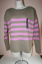 GAP Womens Light Weight Boatneck Long Sleeve Striped Sweater ~ Brown, Pink