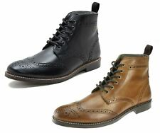 Mens Black Brogue Lace Formal Boots Round Toe Ankle Boots.