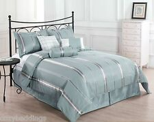 FINAL SALE - Park Avenue KING Size Bed 7pc Comforter Set Blue, Gold Bed Cover