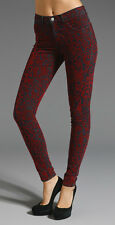 NWT J BRAND 811 RED BROCADE MID RISE STRETCH SKINNY DENIM JEANS size 28