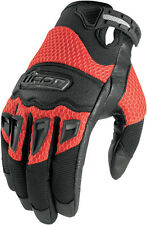 ICON Twenty-Niner Leather/Mesh Short Motorcycle Gloves (Red) Choose Size