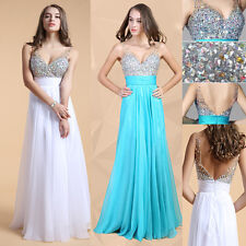 Sexy Beadings Long Ball Gown Evening Prom Party Bridesmaid V-Neck Chiffon Dress