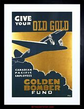 WAR WW2 GOLDEN BOMBER CANADIAN PACIFIC CANADA ADVERTISING FRAMED PRINT F97X7925