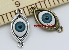10/50pcs Antique Silver Delicate Evil Eye Charms Pendant Connectors 30x15mm DIY