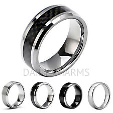 Mens Tungsten Carbide Ring Wedding Bands Silver Black Jewelry Smooth Comfort Fit