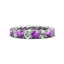 Amethyst & Diamond (SI2-I1, G-H) Gallery Eternity Band 3.74-4.40 ct tw 14K Gold