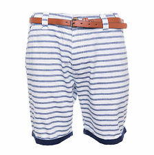 Brave Soul Mens Belted Chino Casual Shorts Navy and Ivory Striped Summer Pants