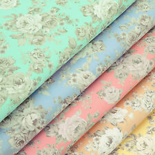 FQ - VINTAGE PASTEL COLOUR ROSE FLOWER RETRO CHIC Cotton Fabric Dress Quilt VK74
