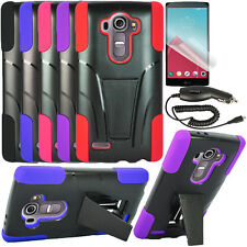 LG G4 Hybrid Rugged Cover Case with Kickstand /Screen Protector/Car Charger