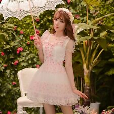 Japanese Sweet Lolita Cute Lace Short sleeve Floral Drees Chiffon Tulle Dress