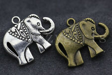 10/50pcs Antique Silver/Bronze Lovely Elephant Alloy Charms Pendant 25x21mm