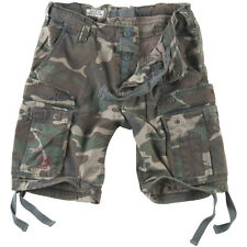 Surplus Mens Airborne Vintage Military Combat Cargo Shorts Washed Woodland Camo