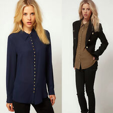Turndown Collar Rivet Chiffon Women's Lady Button Down Shirt Blouse Casual New