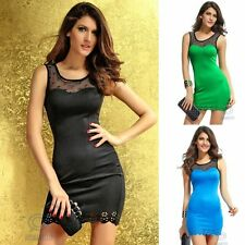 Black Mesh Casual Sleeveless Sexy Mini Slim Bodycon Club Wear Summer Party Dress