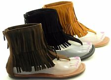 Women's Multi Color Moccasins Tassels Fringe High Ankle Sandal Shoe Sz 5-10