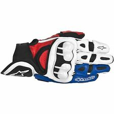 ALPINESTARS GPX Leather Motorcycle Gloves (White/Red/Blue) Choose Size