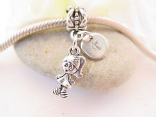 Silver Tone Girl Daughter Niece Hand Stamped Initial Letter Charm fits Bracelets