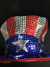 USA Luxury Sequin Stars & Stripes Topper Hat - USA Themed Events Parties 4 July