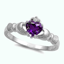 Irish Claddagh Amethyst CZ Heart CZ Sterling Silver Promise Ring Size 4-12