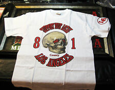 HELLS ANGELS LA COUNTY - RED EYE SKULL- WHITE - SUPPORT SHIRT SS