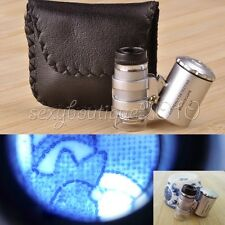 Mini Small 60X Metal Microscope LED Currency Detect Magnifier Pocket Loupe New