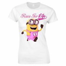 RACE FOR LIFE 2015 MINION T SHIRT VEST PERSONALISED GIRLS WOMEN LADIES