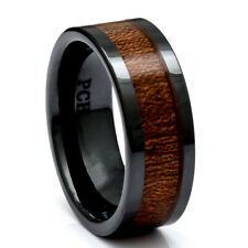Mens Wedding Ring Koa Wood Black Ceramic 9mm Comfort Fit Band Inlay