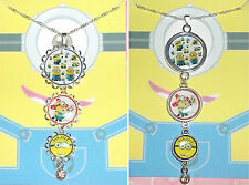 MINIONS Rhinestone Silver Pendant Necklace Disney Despicable Me Purple Evil Eyes