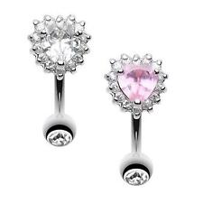 Radiant Heart Reverse Belly Button Ring Clear Pink Lover Navel Fancy CZ Sexy Fun