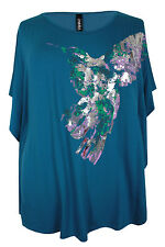 New Ladies Teal Bird Foil Print Tunic Top Sizes 16 - 32