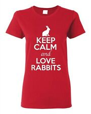 Ladies Keep Calm And Love Rabbits Bunny Pet Animal Lover Funny T-Shirt Tee