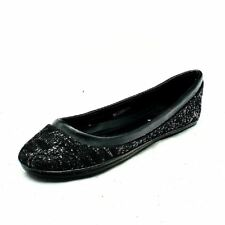 Girls Black sparkly lace flat shoes / pumps