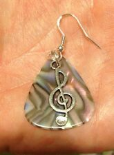Sterling Silver Guitar Pick & Music Treble Clef Earrings,15 colors! Free Ship TX