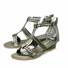 Pewter Low Wedge Strappy Sandals With Chain Detail