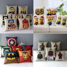 Cute Minions Superman Batman Cotton Linen Throw Pillow Case Cushion Cover Decor