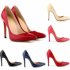 Women Ladies Office Smart Party High Stiletto Pointed Heel crocodile Court Shoes