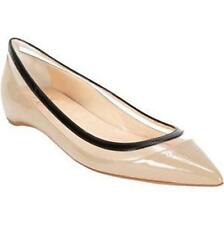 Christian Louboutin PAULINA FLAT Patent Leather Clear PVC Shoes Beige Black $645