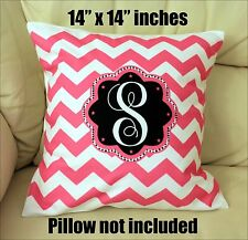 "NEW 14 "" x 14""  PILLOW CASE PERSONALIZED CHEVRON PRINTED ONE LETTER  MONOGRAM"
