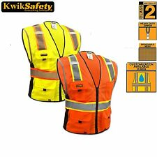 DELUXE SAFETY VEST, HIGH QUALITY REFLECTIVE YELLOW/Orange SIZE ANSI CLASS 2