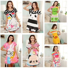 New Women Cartoon Polka Dot Sleepwear Pajamas Short Sleeve Sleepdress Sleepshirt