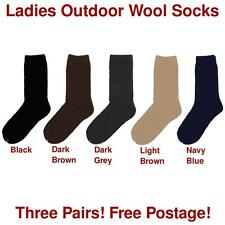 Ladies Outdoor Wool Socks - 3 Pairs - 5 Colours - Free Postage - Shoe Size 2-8
