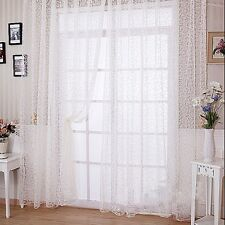 Door Window Floral Flower Curtain Drape Panel Voile Valances Scarf Sheer