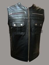 GENUINE LEATHER HARLEY BIKER VEST WAISTCOAT DESIGN MOTORCYCLE SLEEVELESS JACKET