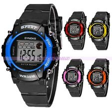 Digital LED Mens Kids Student Boys Girls Sports Children Date Wrist Watches New