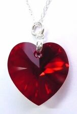 925 Silver SIAM AB Red Crystal Heart Pendant Necklace with SWAROVSKI ELEMENTS