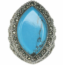Marcasite & Turquoise Resin Marquise Sterling Silver Ring
