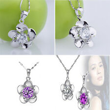 New 925 Sterling Silver Crystal Stone Inlay Chain Flower Pendant Lady Necklace