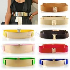 Gold Metal Metallic Bling Mirror Plate Wide Stretch Elastic Sexy Waist Belt Band
