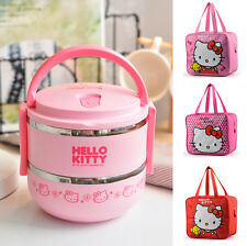 Hello Kitty Stainless Steel Bento Lunch Box Food Container with Carry Tote Bag